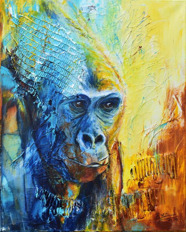 Dreaming of Gorillas (Acryl auf Leinwand) ist ein Bild von Bianca Leidner zur aktuellen online-Ausstellung der Künstlergruppe Kunst & Bündig.