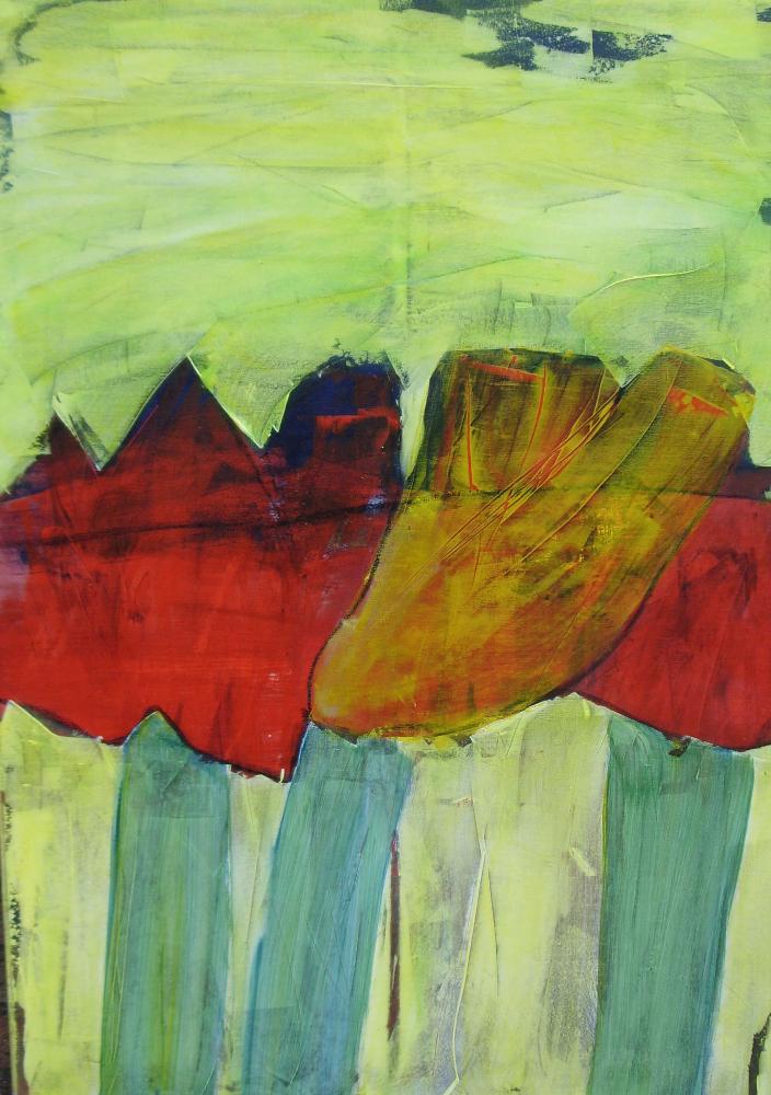 Sommergarten (Acryl auf Leinwand) ist ein Bild von Christa Landig zur aktuellen online-Ausstellung der Künstlergruppe Kunst & Bündig.