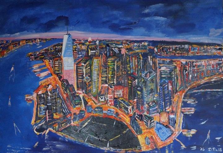 NYC at Night (Acryl auf Leinwand) ist ein Bild von Dirk Ralfs zur aktuellen online-Ausstellung der Künstlergruppe Kunst & Bündig.