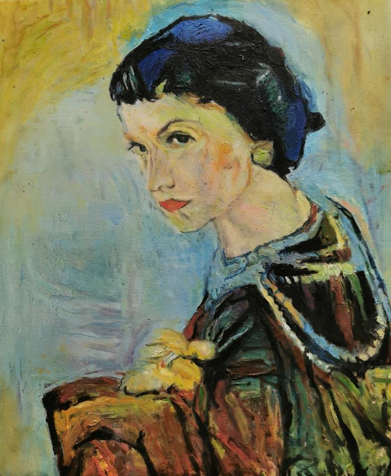 Chanel ist ein Bild (Öl auf Leinwand) des Hamburger Malers Jann Kaune zur aktuellen online-Ausstellung der Künstlergruppe Kunst & Bündig.