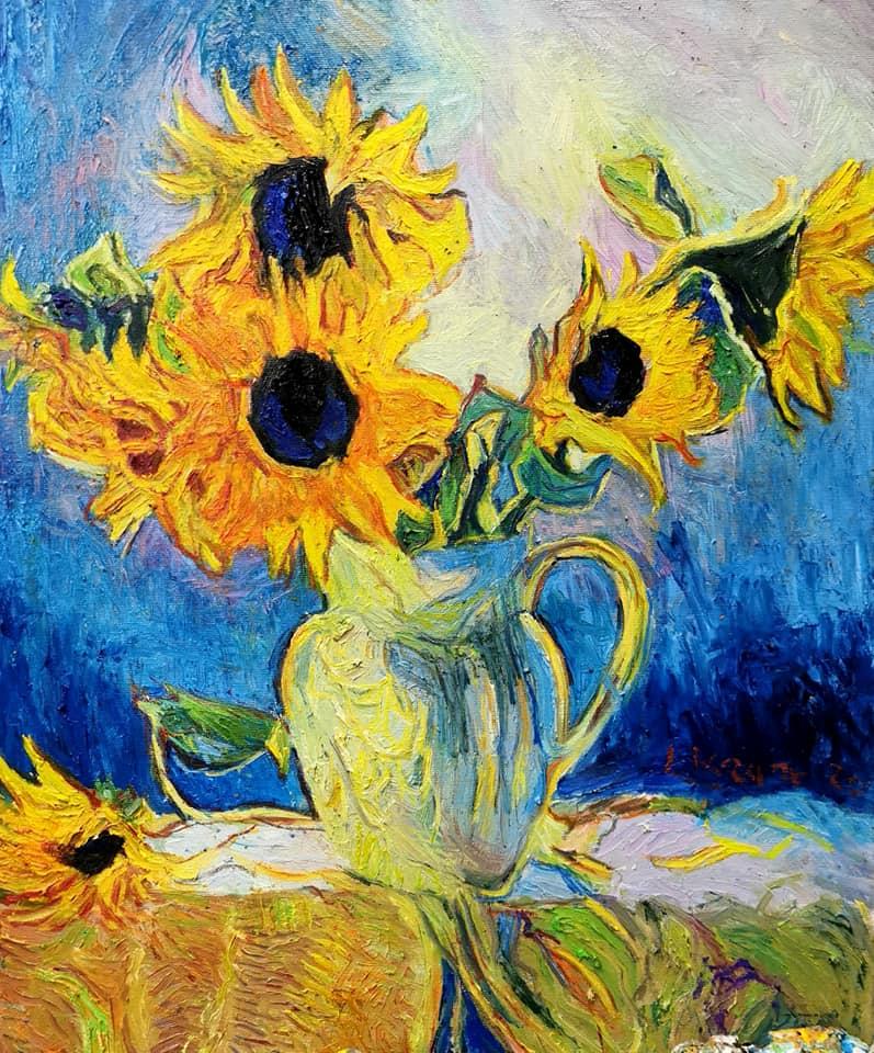 Sechs Sonnenblumen ist ein Bild (Öl auf Leinwand) von Jann Kaune zur aktuellen online-Ausstellung der Künstlergruppe Kunst & Bündig.