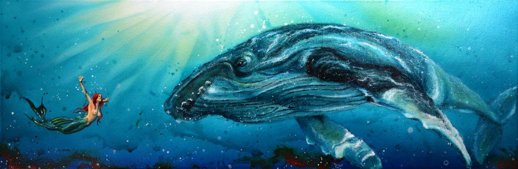Meerjungfrau (Öl, Ölpastell, Airbrush auf Leinwand) ist ein Bild von Klaus Müller zur aktuellen online-Ausstellung der Künstlergruppe Kunst & Bündig.