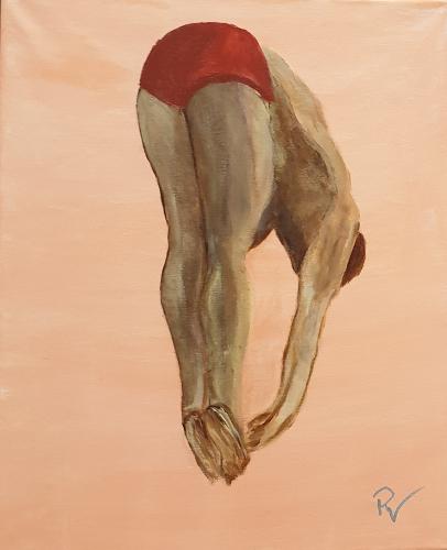 Springer (Acryl auf Leinwand im Schattenfugenrahmen) ist ein Bild von Renate Volkland zur aktuellen online-Ausstellung der Künstlergruppe Kunst & Bündig.