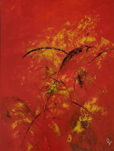 Rot (Acryl auf Leinwand im Schattenfugenrahmen) ist ein Bild von Renate Volkland zur aktuellen online-Ausstellung der Künstlergruppe Kunst & Bündig.